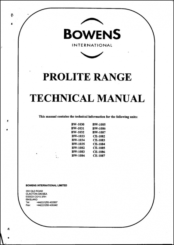 Bowen Prolight Service Manual
