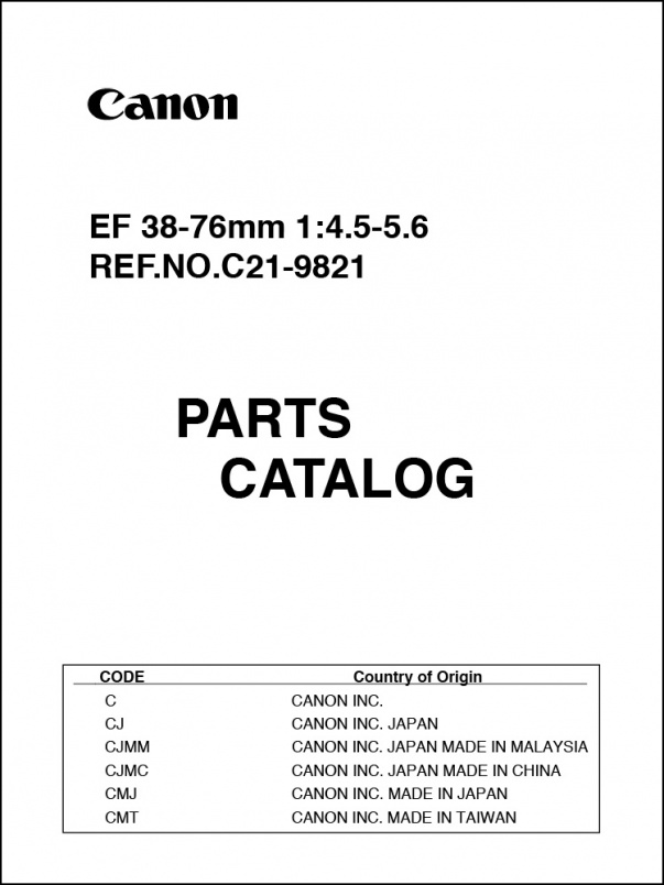 Canon EF 38-76mm f4.5-5.6 Parts Catalog