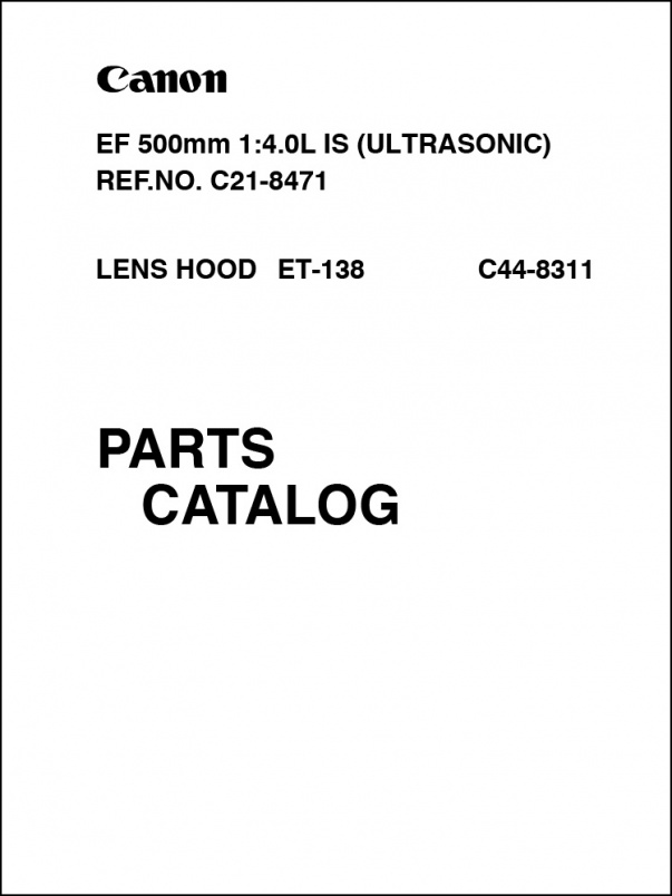 Canon EF 500mm f4L IS Parts Catalog