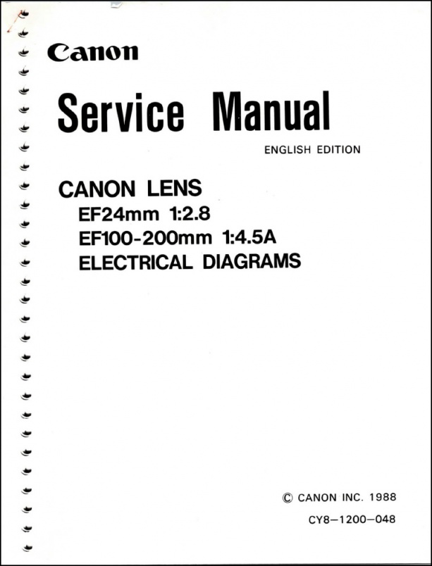 Canon EF 24mm f2.8 and 100-200mm f4.5 Service Manual