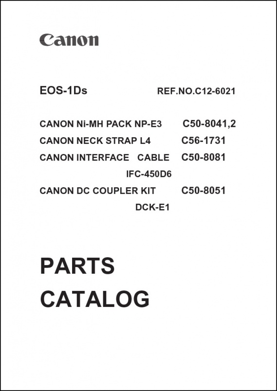 Canon EOS 1Ds Parts Catalog