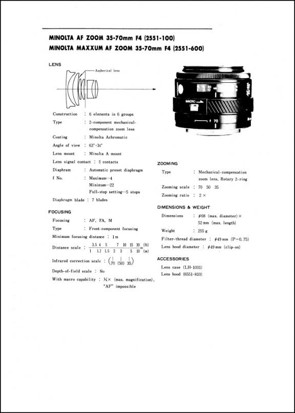 Minolta AF 35-70mm f4 Service Manual