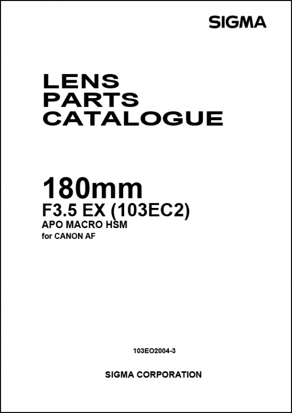 Sigma 180mm f3.5 APO EX Macro (For Canon) Parts List