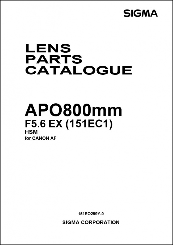 Sigma 800mm f5.6 APO EX (For Canon) Parts List