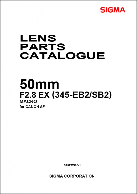 Sigma 50mm f2.8 EX Macro (For Canon) Parts List