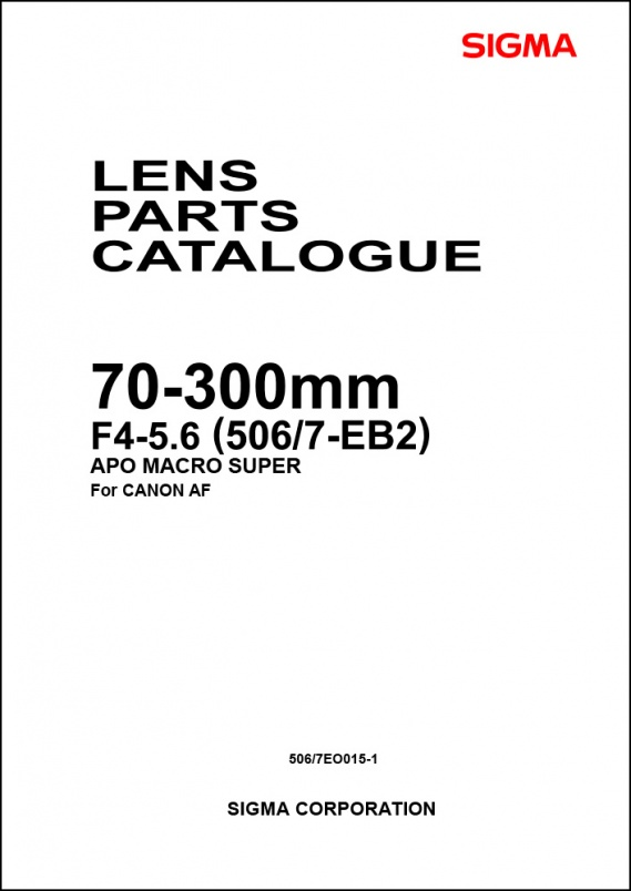 Sigma 70-300mm f4-5.6 APO Macro (For Canon) Parts List