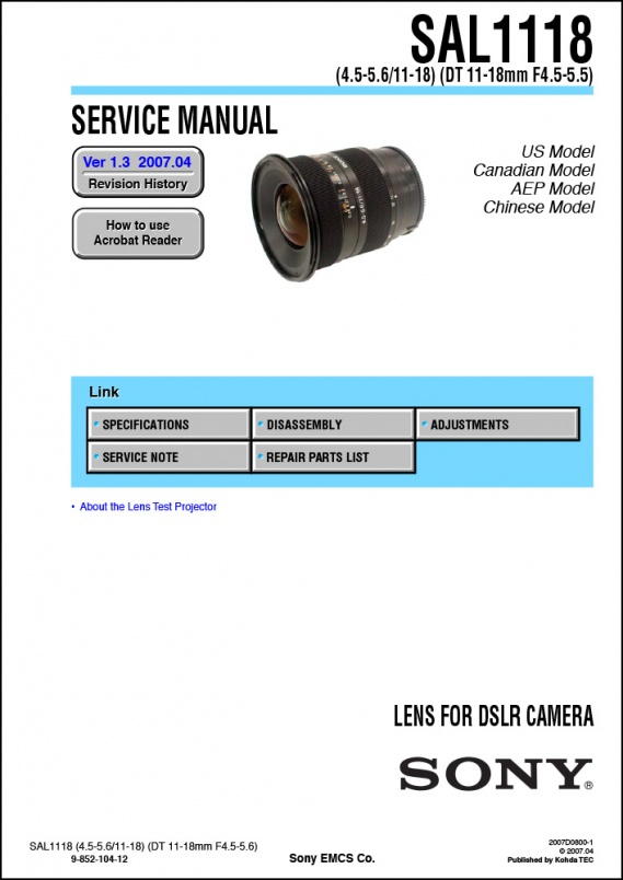 Sony DT 11-18mm f4-5.6 Lens Service Manual