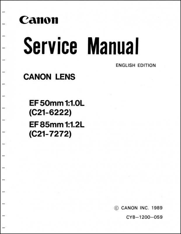 Canon 50mm f1.0L and 85mm f1.2L Service Manual