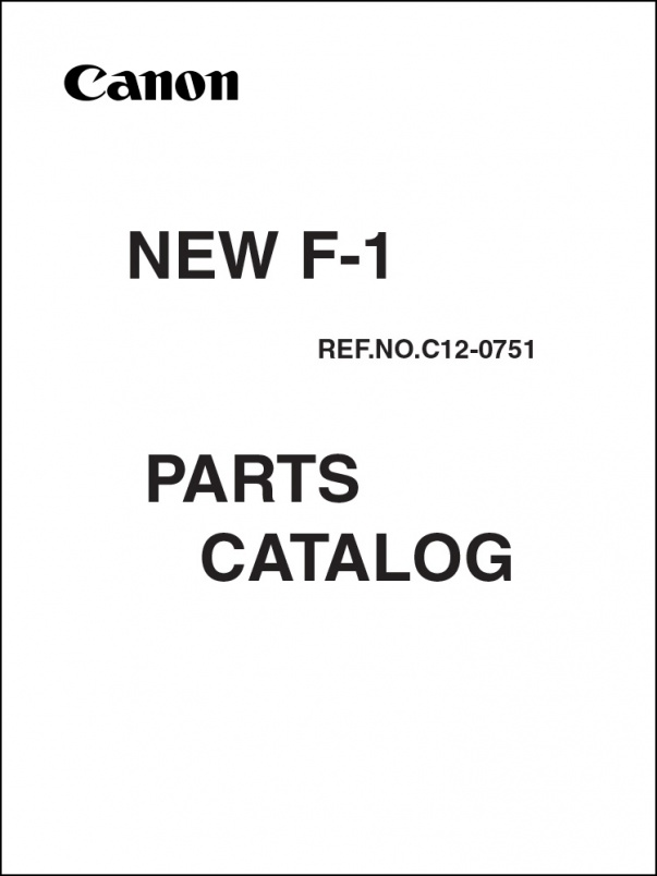Canon New F-1 Parts Catalog