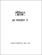 Bronica ETR AE Finder E Service Manual