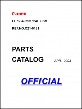 Canon EF 17-40mm f4L Parts Catalog