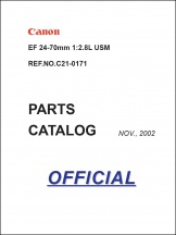 Canon EF 24-70mm f2.8L Parts Catalog