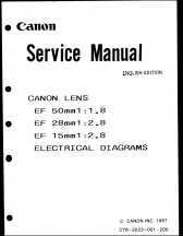 Canon EF 50mm f1.8, 28mm f2.8 and 15mm f2.8 Service Manual