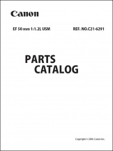 Canon EF 50mm f1.2L Parts Catalog