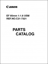 Canon EF 85mm f1.8 Parts Catalog