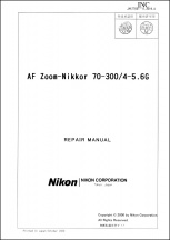 Nikon AF Nikkor 70-300mm f4-5.6G Lens Service Manual