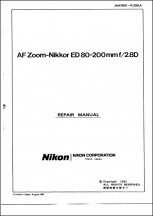 Nikon AF-Nikkor 80-200mm f2.8D Lens Service Manual