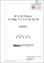 Nikon AF-S Nikkor 16-85mm f3.5-5.6G ED VR Lens Parts List