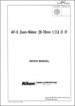 Nikon AF-S Nikkor 28-70mm f2.8D IF Lens Service Manual