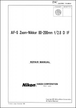 Nikon AF-S Nikkor 80-200mm f2.8D-IF Lens Service Manual