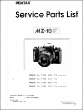 Pentax MZ-10 Parts List