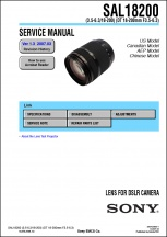 Sony DT 18-200mm f3.5-6.3 Lens Service Manual