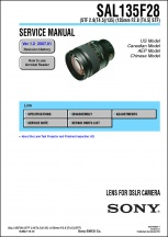Sony Smooth Trans-Focus 135mm f2.8 Lens Service Manual
