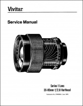 Vivitar Series-1 35-85mm f2.8 VariFocal Service Manual