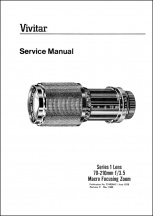 Vivitar Series-1 70-210mm f3.5 Zoom (Version 1) Service Manual