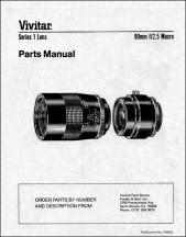 Vivitar Series-1 90mm f2.5 Parts Diagrams
