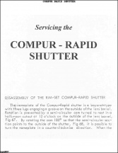 Compur Rapid Shutter Repair Manual
