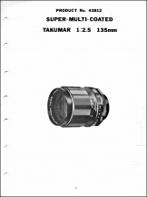 Pentax Screwmount 135mm f2.5 SMC Takumar Service Manual